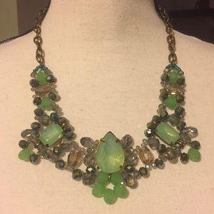 Jewelry - Green rhinestone statement necklace. NWOT